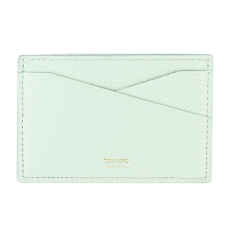 Grained Leather Card Holder Wallet // Mint Green