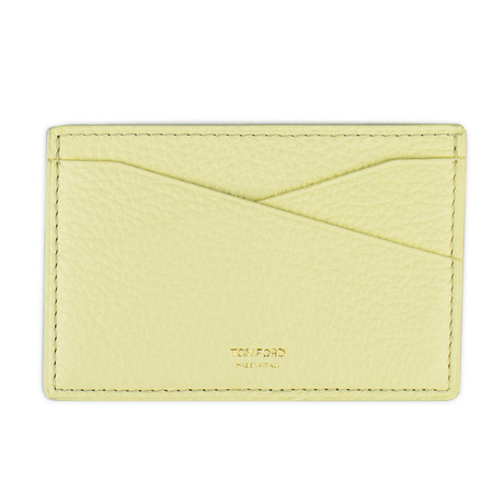 Grained Leather Card Holder Wallet // Yellow