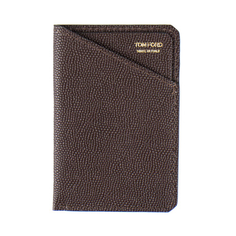 Pebbled Leather Card Holder // Brown
