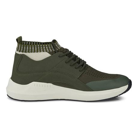 Knit Sock Fabric Mesh Fashion Sneaker // Olive (US: 8)