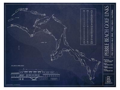 Photo of Ballpark Blueprints Hand-Rendered Stadium Wall Art Pebble Beach Golf Links by Touch Of Modern