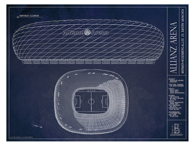 Ballpark Blueprints Hand-Rendered Stadium Wall Art Allianz Arena by Touch Of Modern - Denver Outlet