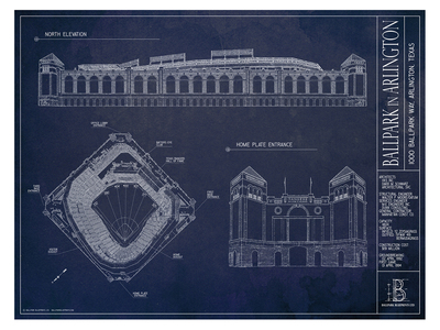 Ballpark Blueprints Hand-Rendered Stadium Wall Art Ballpark in Arlington by Touch Of Modern - Denver Outlet