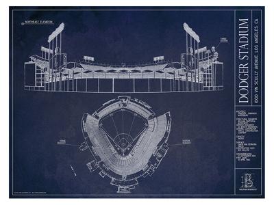 Photo of Ballpark Blueprints Hand-Rendered Stadium Wall Art Dodger Stadium by Touch Of Modern