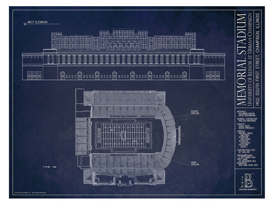 Ballpark Blueprints Hand-Rendered Stadium Wall Art Illinois Memorial Stadium by Touch Of Modern - Denver Outlet