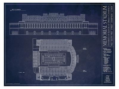Photo of Ballpark Blueprints Hand-Rendered Stadium Wall Art Illinois Memorial Stadium by Touch Of Modern