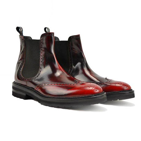 Luciano Chelsea Boot Wingtip // Polished Red (Euro: 41)