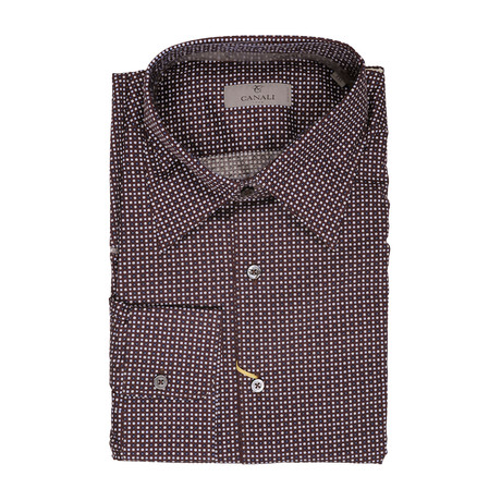 Canali // Patterned Slim Fit Shirt // Brown (S)