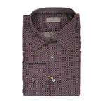 Canali // Patterned Slim Fit Shirt // Brown (2XL)