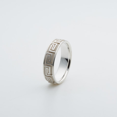 Argentium Sterling Silver Ring // Greek Key (7)
