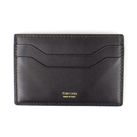 Smooth Leather ID Card Holder Wallet // Dark Brown