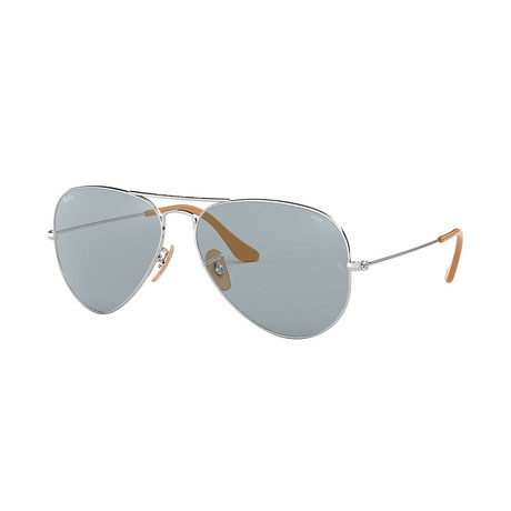 Ray-Ban Aviator Evolve Sunglasses // Silver Frames + Photo Blue Lenses