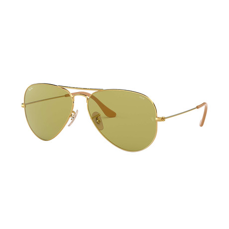 Ray-Ban Aviator Evolve Sunglasses // Gold Frames + Photo Green Lenses
