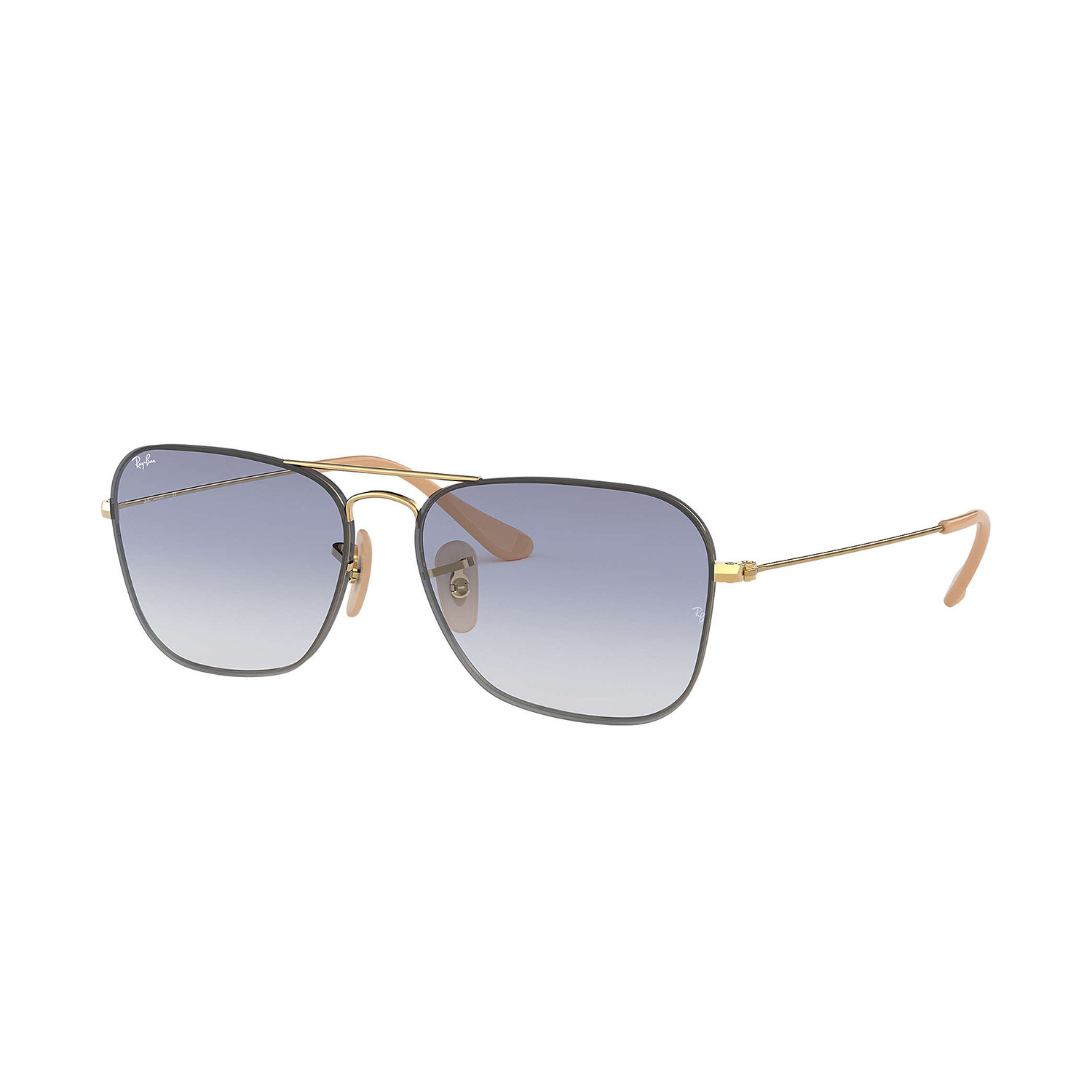 Ray-Ban RB3603 Sunglasses // Gold Frames + Clear Gradient Light Blue ...
