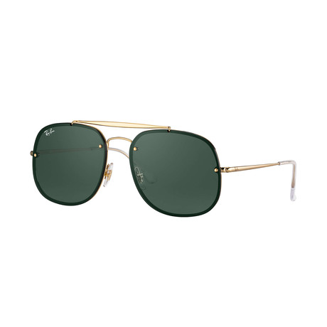 Ray-Ban Blaze General Sunglasses // Gold Frames + Dark Green Lenses