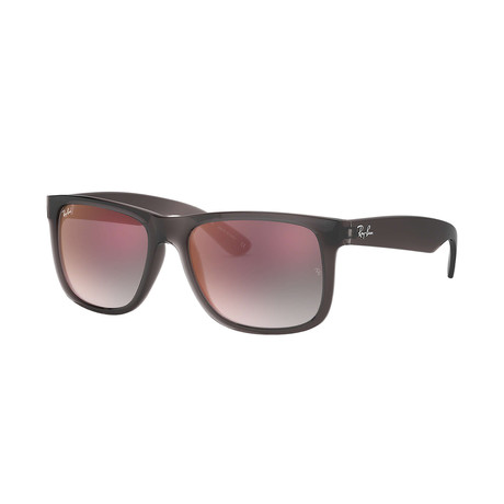 Ray-Ban Justin Sunglasses // Transparent Gray Frames + Gray Gradient Mirror Red Lenses (51mm)