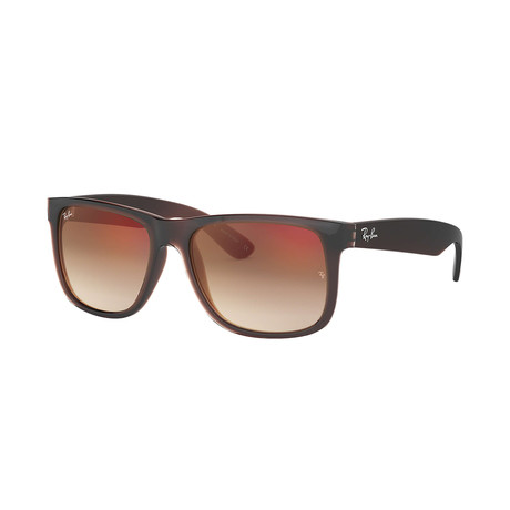 Ray-Ban Justin Sunglasses // Brown Frames + Brown Gradient Mirror Red Lenses
