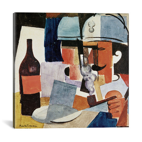 "Soldier With Pipe + Bottle // Roger de la Fresnaye // 1917 (18""W x 18""H x 0.75""D)"