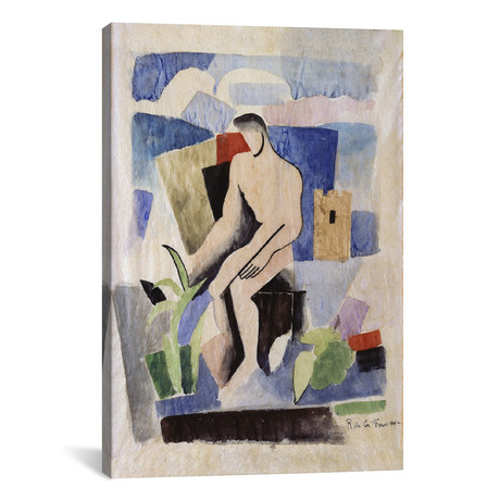 "Man in the Country, Study for Paludes // Roger de la Fresnaye // 1920 (18""W x 26""H x .75""D)"