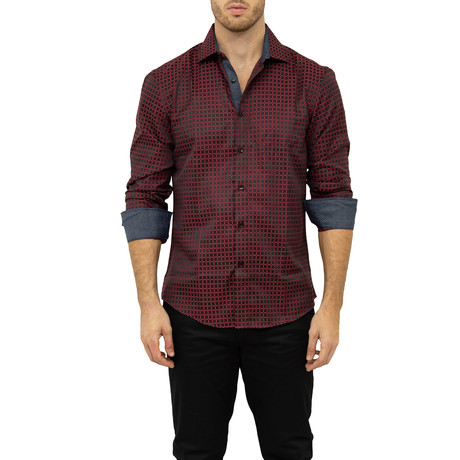 Ron Long-Sleeve Button-Up Shirt // Red (S)