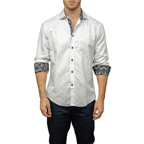 Neville Long-Sleeve Button-Up Shirt // White (S)