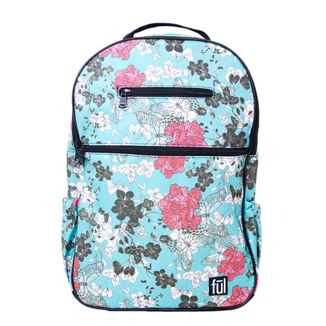 Accra Laptop Backpack // Teal Floral Print