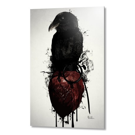 "Raven and Heart Grenade //Aluminum Print (16""W x 24""H x 1.5""D)"