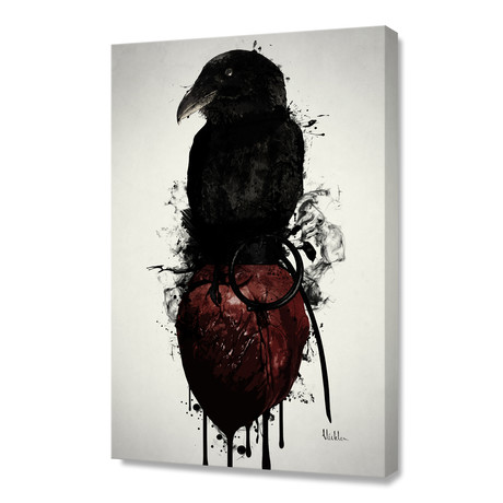 "Raven and Heart Grenade // Stretched Canvas (16""W x 24""H x 1.5""D)"