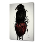 """Raven and Heart Grenade // Stretched Canvas (16""""W x 24""""H x 1.5""""D)"""