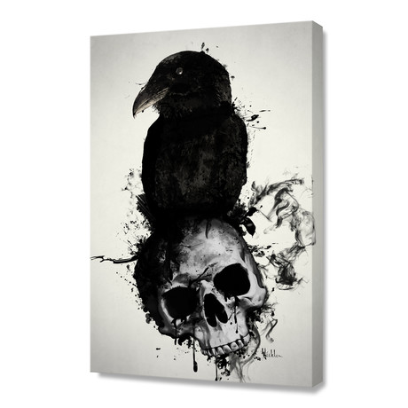 "Raven and Skull // Stretched Canvas (16""W x 24""H x 1.5""D)"