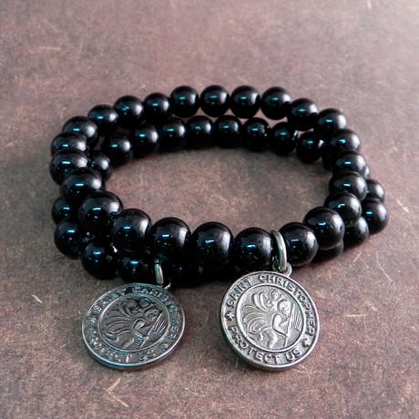 Glass St. Christopher Bead Bracelet // Black