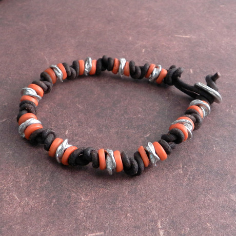Knotted Leather Bracelet + Amber
