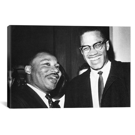 """Martin Luther King Jr. And Malcolm X // Globe Photos, Inc. (26""""W x 18""""H x 0.75""""D)"""