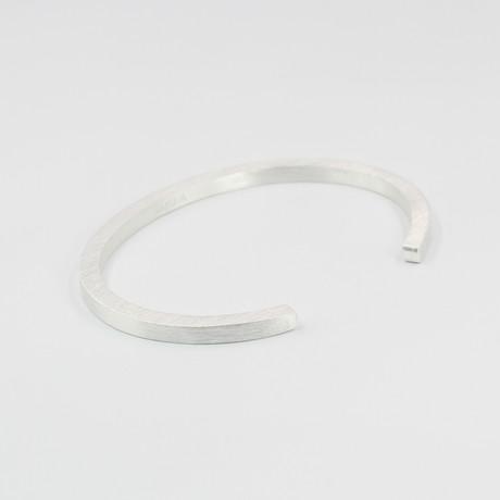 """Square Cuff Bracelet // Silver (Small (5""""-6.75""""))"""