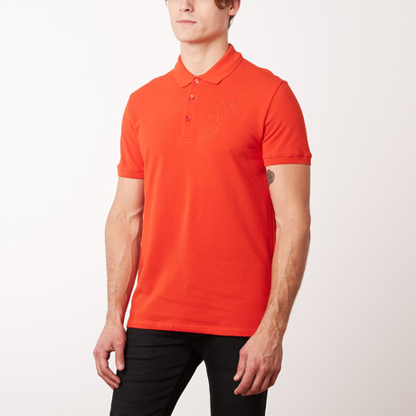 Embroidered Medusa Polo Shirt // Red (S)