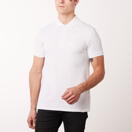 Versace Collection // Embroidered Medusa Polo Shirt // White (S)