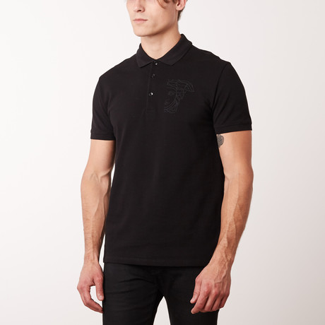 Embroidered Medusa Polo Shirt // Black (S)