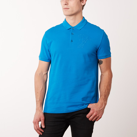 Embroidered Medusa Polo Shirt // Surf (S)
