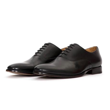 Deuce Leather Lace Up Plain Toe Oxfords // Black (US: 7)