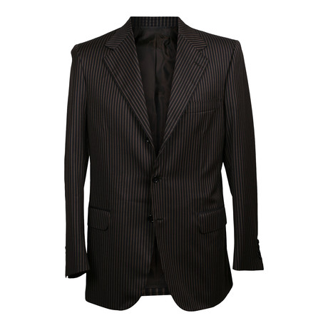 Rolling 3 Button Stripped Blazer // Brown (US: 36S)