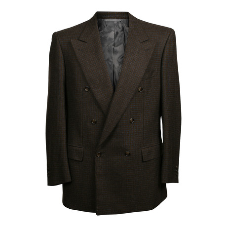 Double Breasted Houndstooth Blazer // Brown (US: 36S)