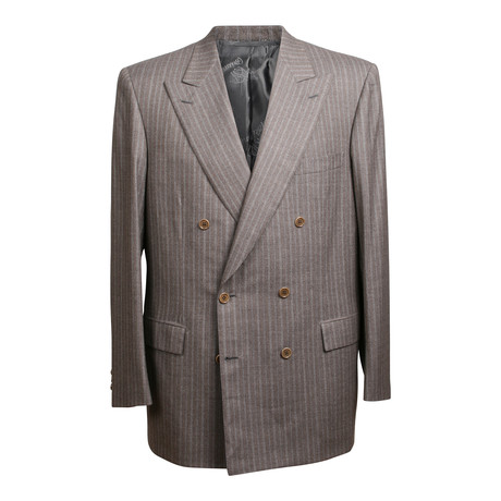 Super 150s Double Breasted Striped Suit // Brown (US: 36S)
