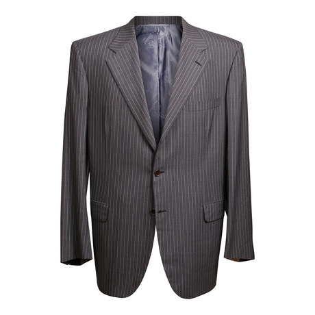 Super 180s Striped 3 Rolling Button Suit // Dark Gray (US: 36S)