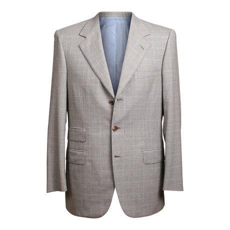 Rolling 3 Button Check Suit // Warm Gray // BRS23 (US: 36R)
