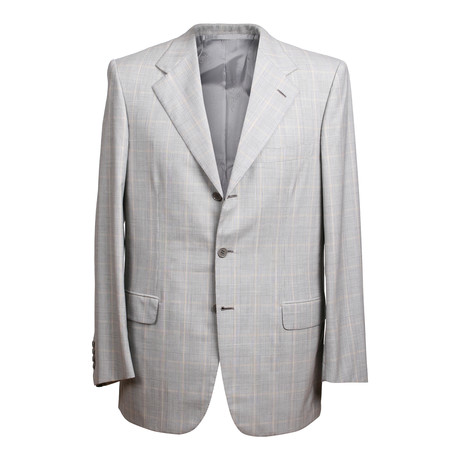 Super 170s Rolling 3 Button Check Suit // Gray (US: 36S)