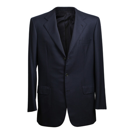 Rolling 3 Button Solid Wool Suit // Navy Blue (US: 36S)