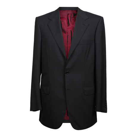 Super 150s Solid 3 Rolling Button Suit // Black (US: 36S)