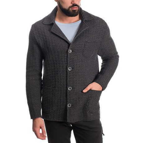 Wool Button Jacket // Dark Gray (M)