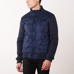 Paolo Lercara // Contrast Sleeve Jacket // Navy (3XL)