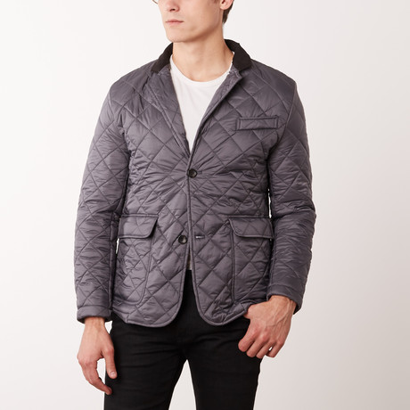 Paolo Lercara // Quilted Navy Jacket // Gray (S)